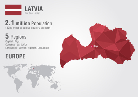 populous: Latvia world map with a pixel diamond texture. World geography. Illustration