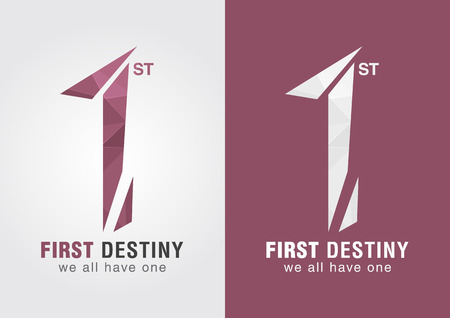one: 1st First destiny an icon symbol from letter alphabet number 1. One for all. Illustration