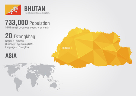 Bhutan world map with a pixel diamond texture. World geography. Vector