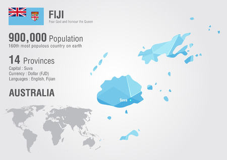 populous: Fiji world map with a pixel diamond texture. World geography.