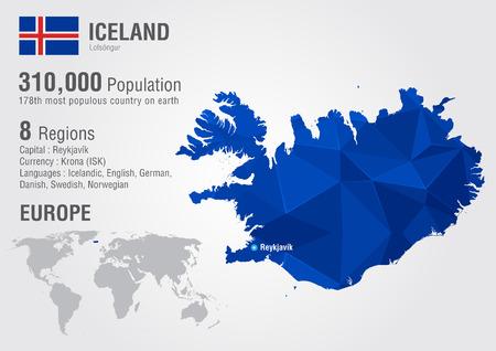 픽셀 다이아몬드 텍스처와 아이슬란드 섬 세계지도. 세계 지리학.