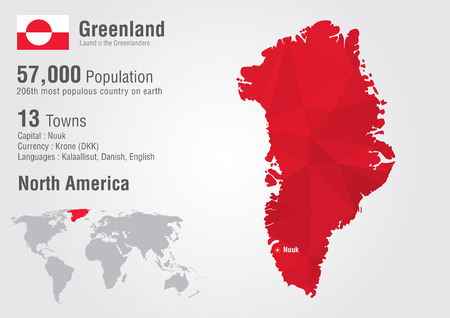 populous: Greenland world map with a pixel diamond texture. World geography. Illustration