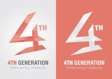 4th generation icon symbol from an alphabet letter number 4. Creative design. Vector
