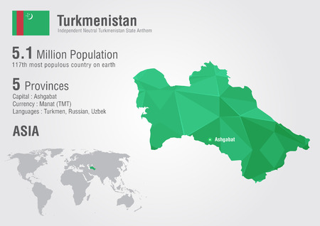 Turkmenistan world map with a pixel diamond texture. World geography. Vector