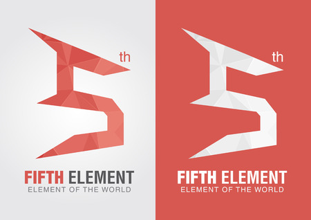 Fifth element icon symbol from an alhabet letter number 5. Five. Illustration