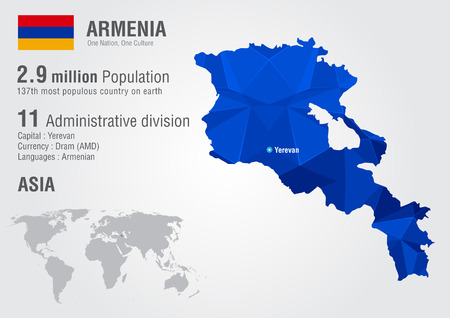 populous: Armenia world map with a pixel diamond texture. World geography. Illustration