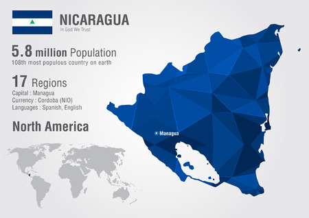 populous: Nicaragua world map with a pixel diamond texture. World geography. Illustration