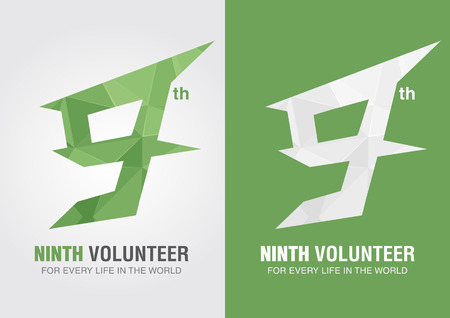 9th: 9th Volunteer icon symbol from an alphabet letter number 9. Nine creative.