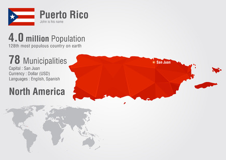 Puerto Rico world map with a pixel diamond texture. World geography. Vector