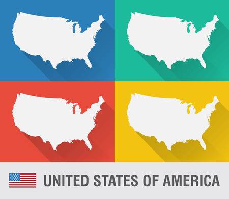 USA world map in flat style with 4 colors. Modern map design.