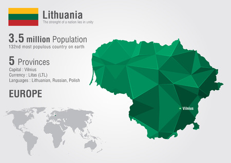 populous: Lithuania world map with a pixel diamond texture. World geography. Illustration