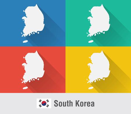 4 색 플랫 스타일의 한국 세계지도입니다. 현대지도 디자인.
