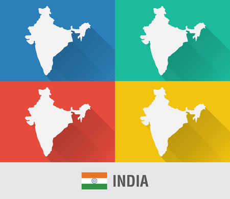 India world map in flat style with 4 colors. Modern map design.