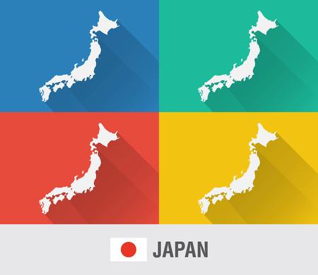 4 색 플랫 스타일의 일본 세계지도. 현대지도 디자인입니다.