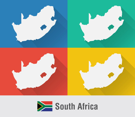 South Africa world map in flat style with 4 colors. Modern map design.