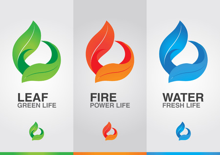 ci: 3 elements of the world. Leaf Fire Water. Creative design.