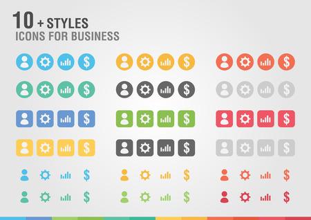 비즈니스를위한 아이콘을 설정합니다. 고객, 설정, 차트, 돈.