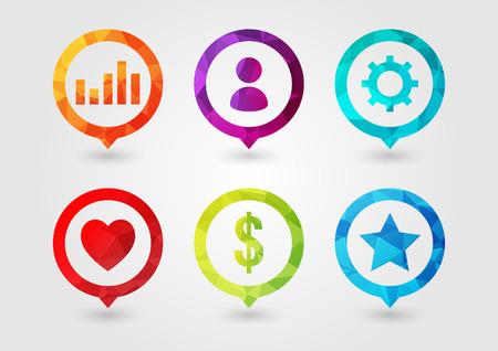 핀 비즈니스를위한 아이콘을 설정합니다. 사용자 설정 차트 Money Star Favorite. 창의적인 디자인.