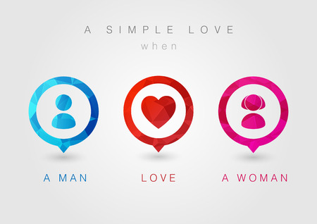 핀 아이콘 커플을 설정합니다. 남자 사랑 여자. 크리 에이 티브 연인. 일러스트