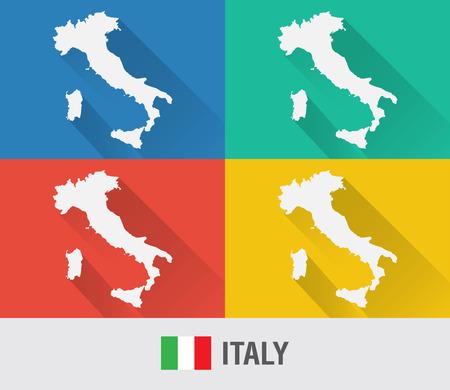 이탈리아 세계지도 4 색상 플랫 스타일. 현대지도 디자인입니다.