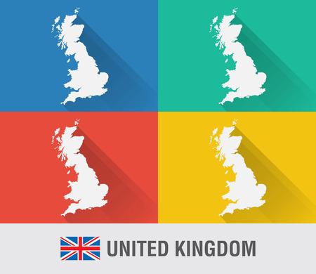 영국 4 색 플랫 스타일 영국 세계지도. 현대지도 디자인입니다.
