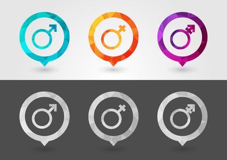 Gender sex symbol signage with a pixel diamond texture. Creative design.