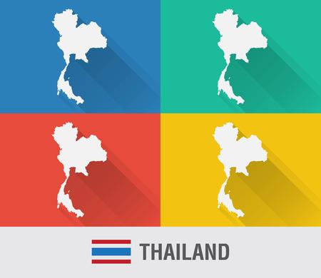 4 색 평면 스타일 태국에서 세계지도입니다. 현대지도 디자인입니다.