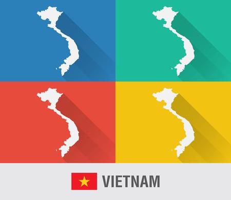 베트남 세계지도 4 색상 플랫 스타일. 현대지도 디자인입니다.