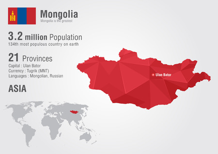 populous: Mongolia world map with a pixel diamond texture. Creative world geography.