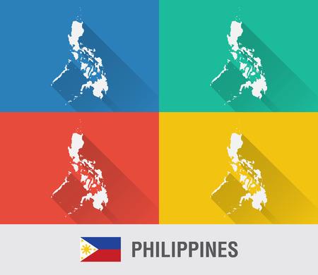 4 색 플랫 스타일 필리핀 세계지도입니다. 현대지도 디자인. 일러스트