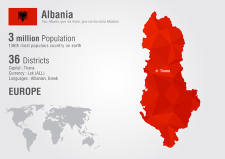 populous: Albania world map with a pixel diamond texture. World creative geography.