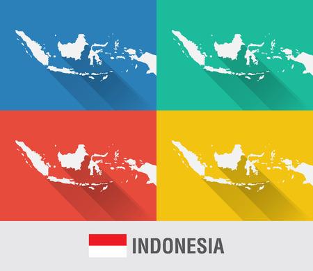 4 색 플랫 스타일의 인도네시아 세계지도입니다. 현대지도 디자인.
