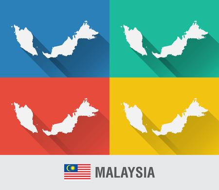 4 색 평면 스타일 말레이시아 세계지도입니다. 현대지도 디자인입니다.