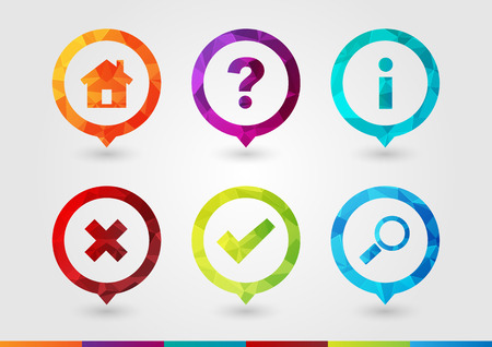 hint: Pin Icon set for business. Home Hint Info Wrong Right Search. Creative Symbol style.