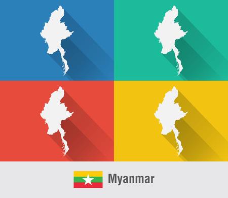 미얀마 4 색 평면 스타일의 버마지도. 현대지도 디자인입니다.