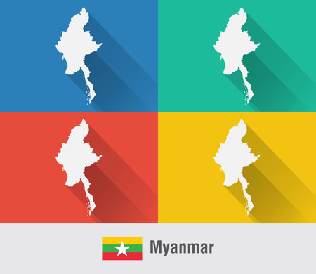 Myanmar Burma map in flat style with 4 colors. Modern map design.