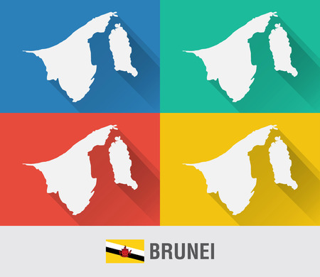 Brunei world map in flat style with 4 colors. Modern map design.