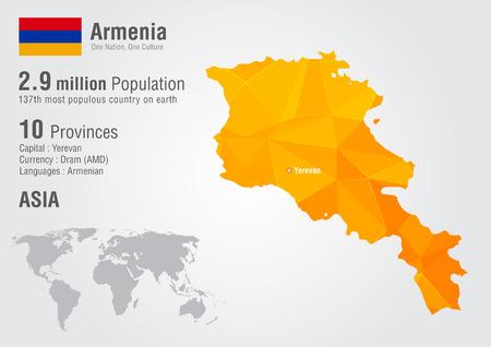 픽셀 다이아몬드 텍스처와 아르메니아 세계지도입니다. 세계 지리.