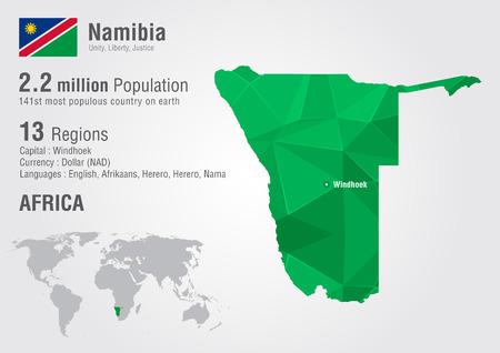 픽셀 다이아몬드 텍스처와 나미비아 세계지도. 세계 지리학.