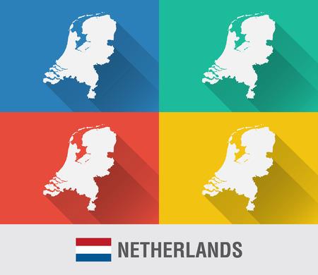 Netherland world map with a pixel diamond texture. World geography. Illustration