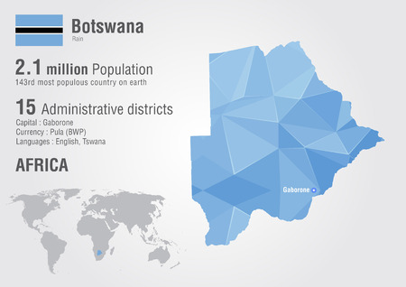 populous: Botswana world map with a pixel diamond texture. World geography.