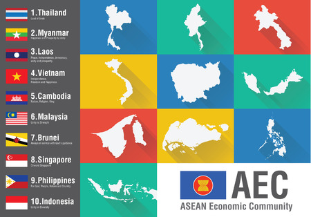 AEC Asean Economic Community world map with a flat style and flags. World Geography and Economic. Vector