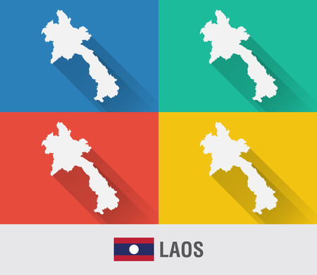 aec: Laos world map in flat style with 4 colors. Modern map design. Illustration