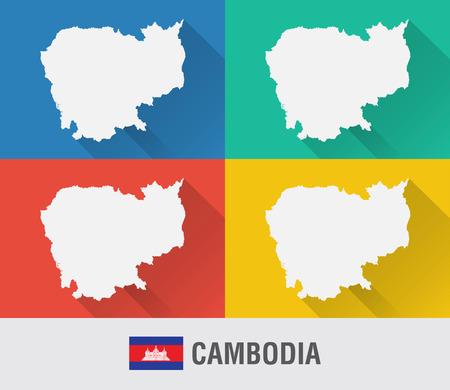 캄보디아 세계지도 4 색상 플랫 스타일입니다. 현대지도 디자인입니다.