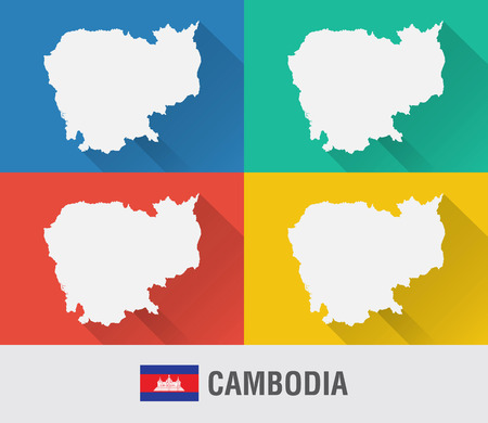 Cambodia world map in flat style with 4 colors. Modern map design.