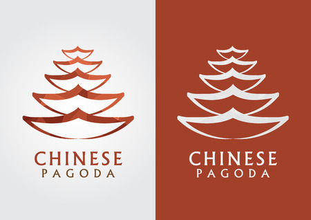 ci: Chinese pagoda outline with a pixel diamond texture. Creative Modern and vintage. Illustration