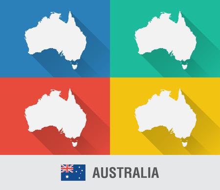 호주 세계지도 4 색상 플랫 스타일. 현대지도 디자인입니다.