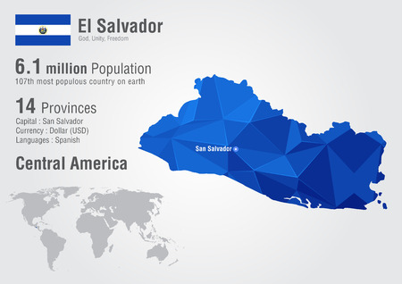 El Salvador world map with a pixel diamond texture. World geography. Illustration