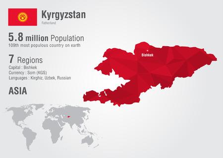 픽셀 다이아몬드 질감 키르기스스탄 세계지도입니다. 세계 지리.