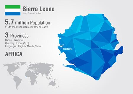 픽셀 다이아몬드 텍스처와 시에라 리온 세계지도. 세계 지리학.